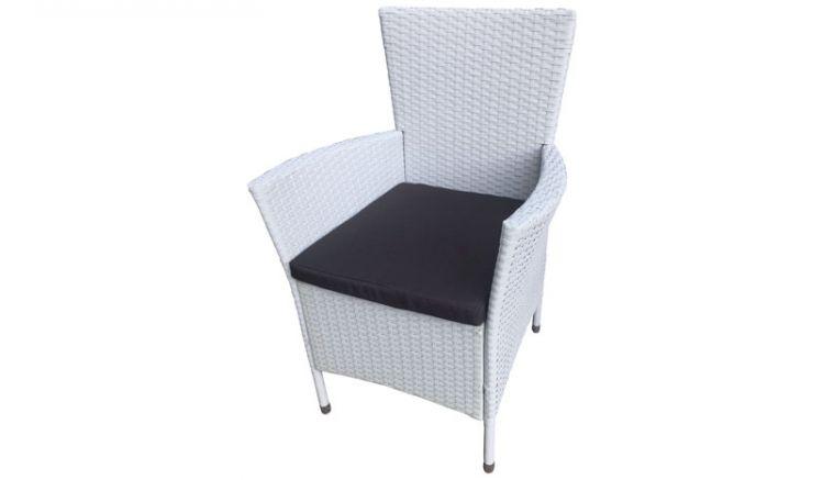 Weiße 61 x 59 x 88 cm Lounge Gartensessel aus wetterfestem Polyrattan inklusive Sitzpolster. Geliefert im praktischen 2er-Set