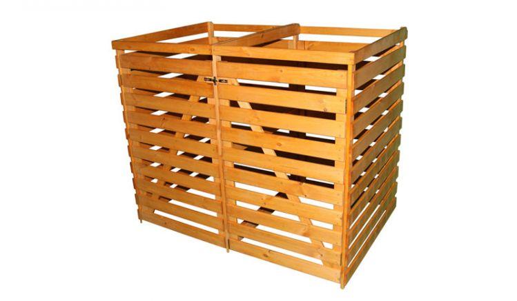 Die Doppelbox: 144 x 92 x 120 cm Mülltonnenbox mit 480 Liter Fassungsvermögen für zwei Abfallbehälter