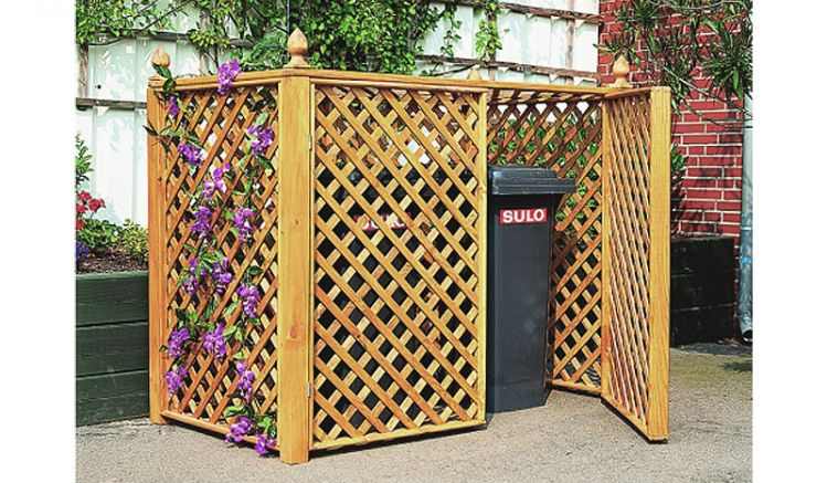 Honigbraune 163,5 x 88,5 x 136 cm Mülltonnenbox mit Rankgitter für zwei Abfallbehälter à 240 Liter