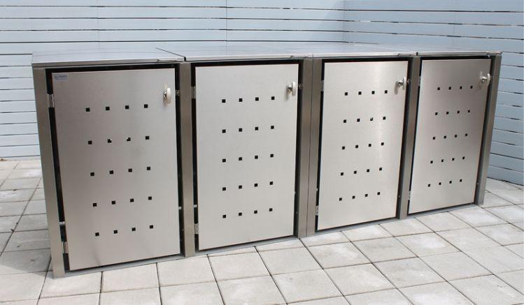 Exklusive Mülltonnenbox aus gebürstetem Edelstahl inklusive Klappdeckel mit Gasdruckdämpfer. In 3 verschiedenen Größen erhältlich