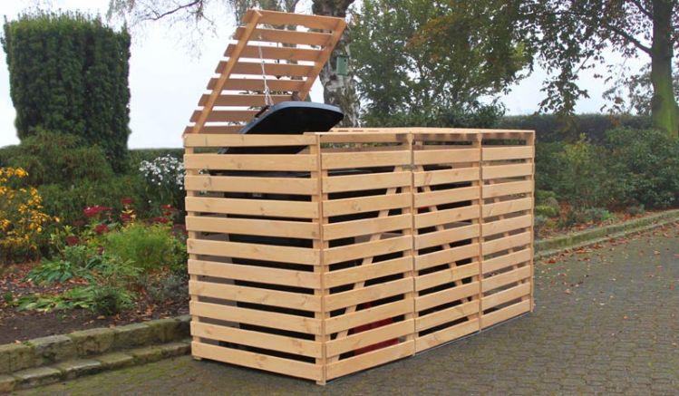 """Unsere Mülltonnenverkleidung Holz """"Heinola"""" besteht aus massivem Kiefernholz. Farbe: Natur"""