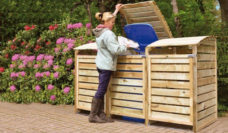 Unsere praktischen Mülltonnenboxen verkleiden Ihre unansehnliche Plastikmülltonen auf elegante Art und Weise. Dank der mitgelieferten Kette wird der Deckel Ihrer Mülltonnen automatisch mitgeöffnet, wenn Sie die obere Öffnung der Mülltonnenbox hochdrücken.
