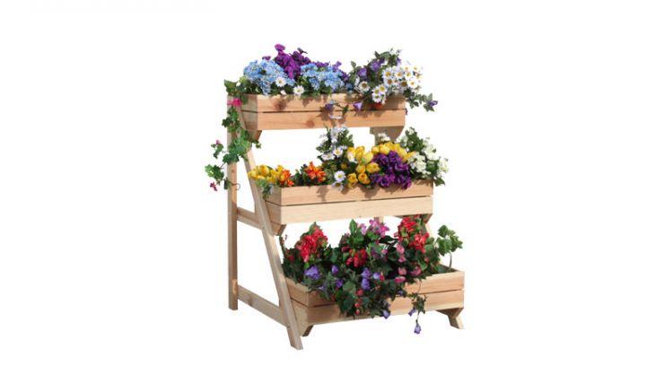 80 x 75 x 100 cm Planzleiter aus naturbelassener Kiefer mit drei fest integrierten Blumenkästen. Folieneinsätze sind im Lieferumfang enthalten