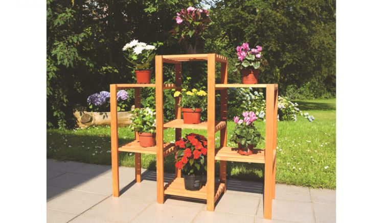 Mit unserem Pflanzregal können Sie platzsparend Ihren Garten, Terasse oder den Balkon dekorieren. Ein garantierter Blickfang. Maße: 98 x 32 x 88 cm