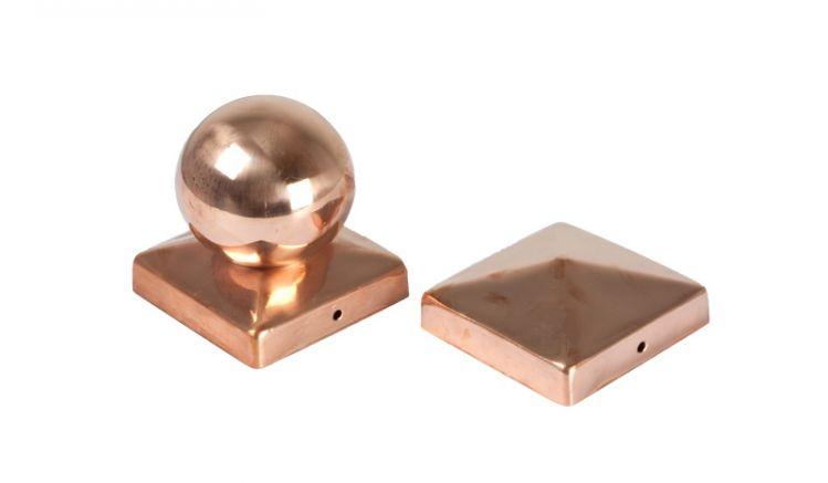 Pfostenkappen Kupfer als Kugel und Pyramide  9 x 9cm