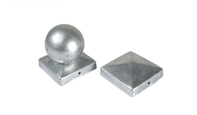 Hier erhalten Sie Pfostenkappen 9x9 verzinkt als Kugel und Pyramide