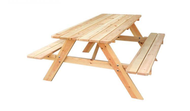 Rustikale 177 x 155 x 74 cm Picknick Sitzgruppe für 4 bis 6 Personen aus robusten Kieferplanken