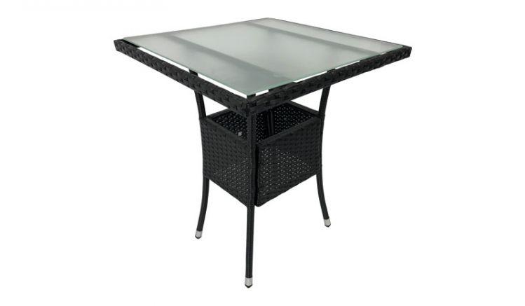 Schwarzer Polyrattan Tisch: Der 60 x 60 x 73,5 cm Bistrotisch hat eine Platte aus mattiertem Sicherheitsglas