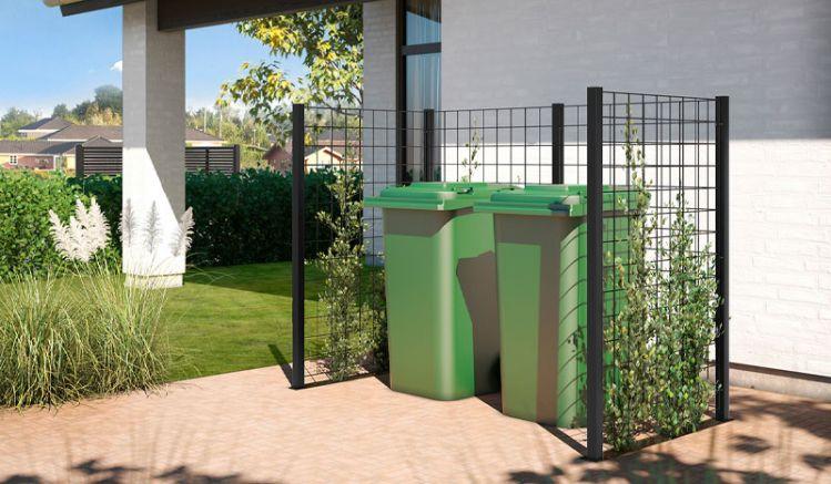Sie erhalten Ihre Rankgitter Mülltonnenabtrennung in vier verschiedenen Ausführungen, das heißt in zwei kleinen 2er- und zwei großen 4er-Konstruktionen, jeweils verzinkt und beschichtet