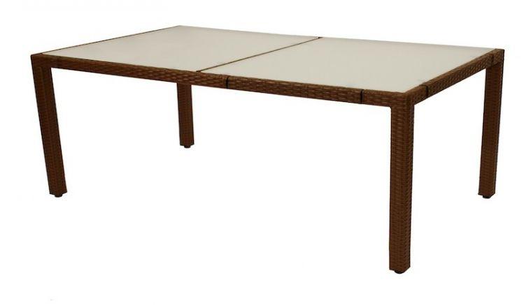 Die Tischplatte des Gartentisch Panama besteht aus Sicherheitsglas