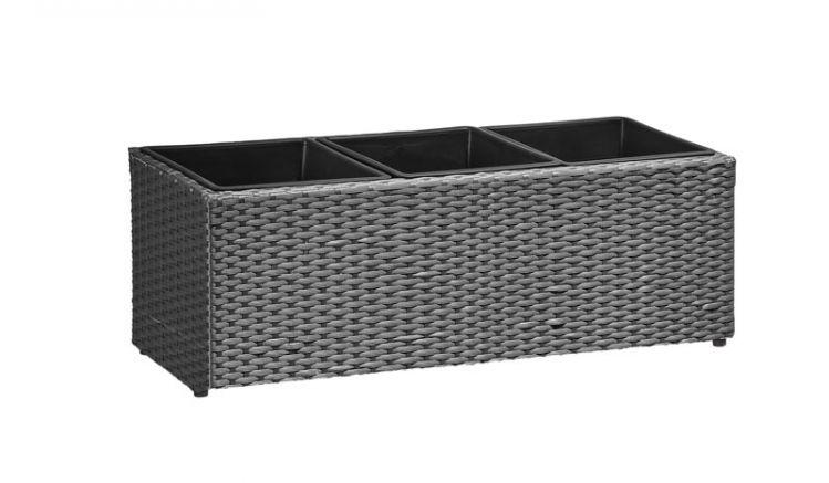 Durch verwendung von PE-Kunststoff und Aluminium ist das Pflanzgefäß (hier im Farbton: grau) UV- und temperaturbeständig.