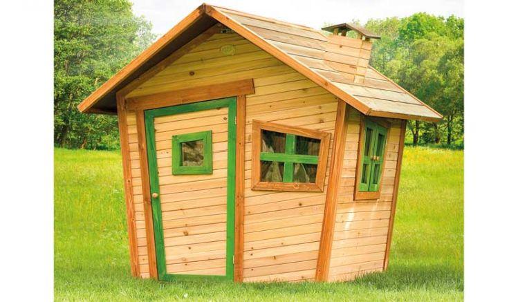 TÜV geprüftes Spielhaus aus 100 % FSC-Holz, das spielenden Kinder viel Platz bietet.