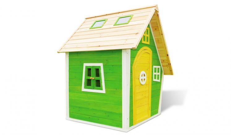 Spielhaus Elias aus teilweise farbig behandeltem Fichtenholz. Maße: 125 x 130 x 158 cm