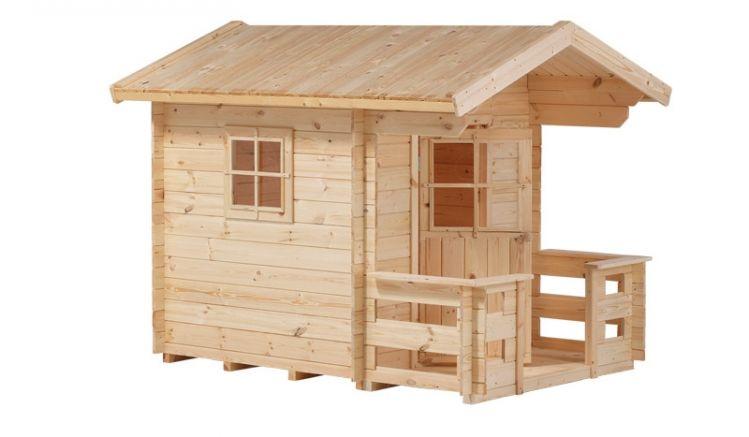 Das Spielhaus besteht aus unbehandeltem Fichten- und Kiefernholz. das nach der Montage mit einer offenporigen Holzlasur imprägniert werden sollte