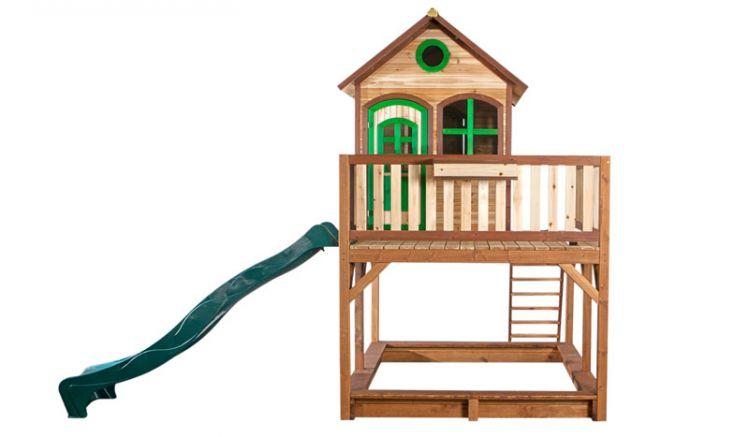 Das Spielhaus Sam von meingartenversand.de, optional erweiterbar.