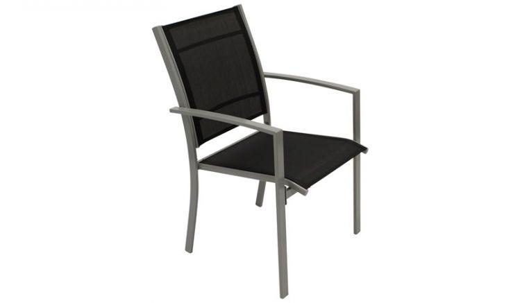 4er-Set Stapelsessel Metall: Die schwarzen 65 x 55 x 89 cm Gartenstühle punkten mit einem bequemen und strapazierfähigen Textilgewebe