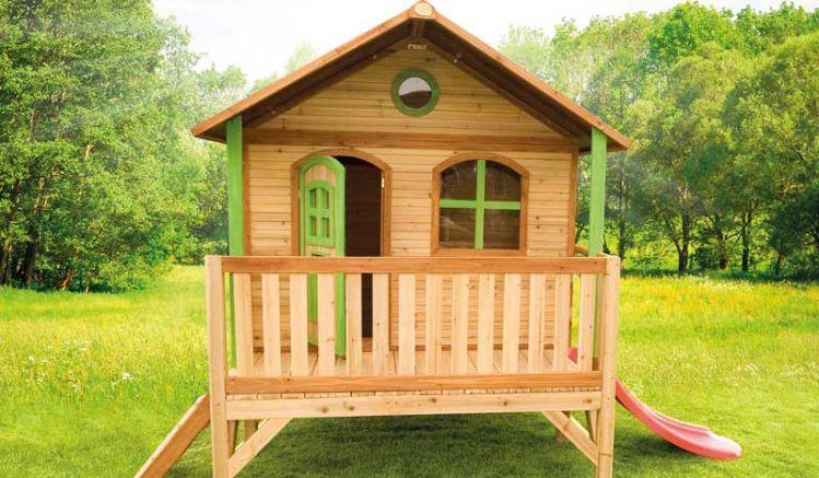 """Stelzenhaus """"Jannes"""" mit Veranda und Rutsche ist TÜV geprüft und macht Ihren Garten zum Abenteuerspielplatz: 200 x 347 x 236cm, Zedernholz, 100 % FSC"""