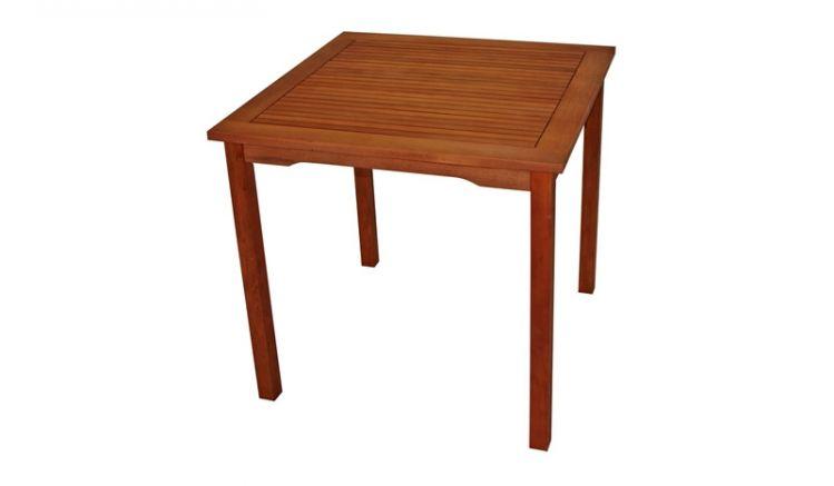 Mit Maßen von 80 x 80 x 75 cm passt der Tisch Nyon aus pflegeleichtem, FSC®-zertifiziertem Eukalyptusholz sowohl auf die Terrasse als auch auf einen größeren Balkon. Er macht sowohl im Innen- als auch im Außenbereich eine gute Figur!