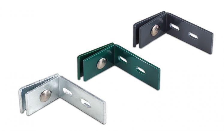Wandanschluss für Doppelstabgittermatten aus Metall, in Zink, Anthrazit und Grün erhältlich