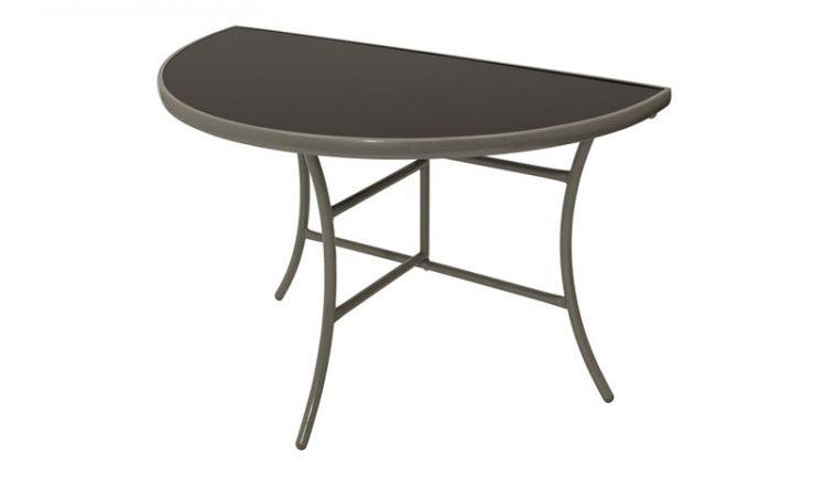 Der klappbare 110 x 58 x 71 cm Wandtisch ist mit seiner halbrunden Form perfekt für Balkone. Mit robustem Stahlgestell und Tischplatte aus Sicherheitsglas