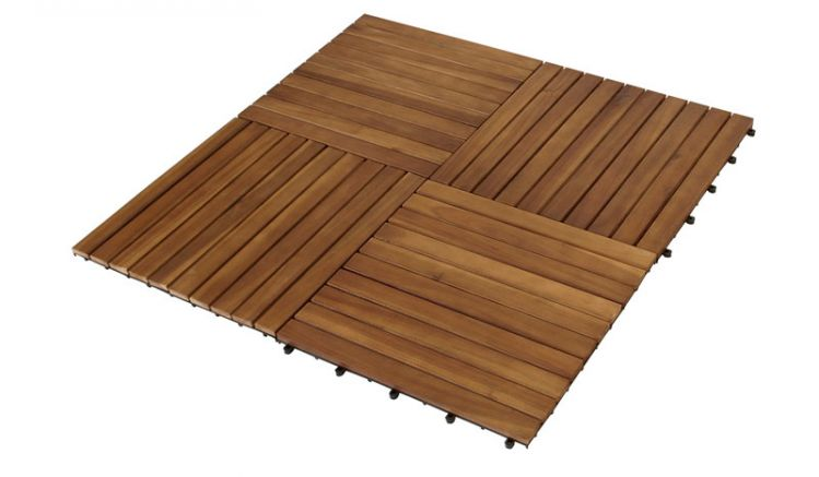 Bodenfliesen für den Balkon aus Akazie im Maß 50 x 50 cm