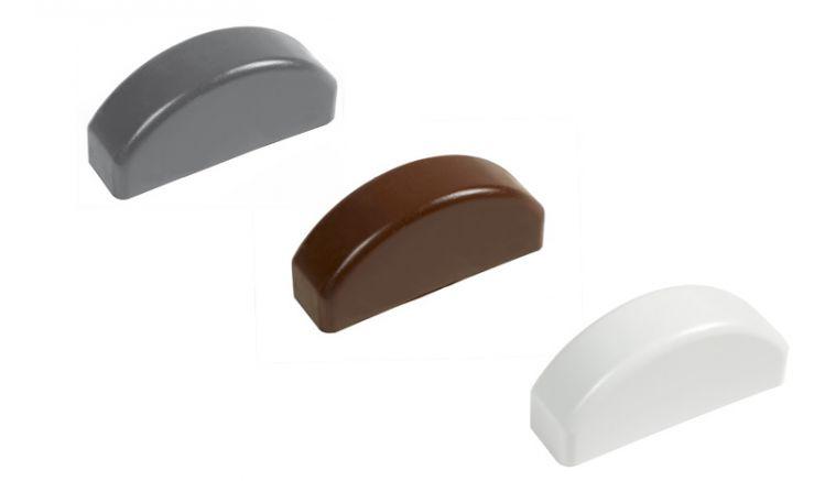 Zaunlatten Kappe - gerundet, in Weiß, Anthrazit oder Braun, 74 x 20 mm.