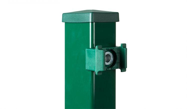 """Zaunpfosten aus Metall """"O"""" für Doppelstabgittermatten, 4 x 6 cm, feuerverzinkt und in RAL 6005 (Grün) beschichtet"""