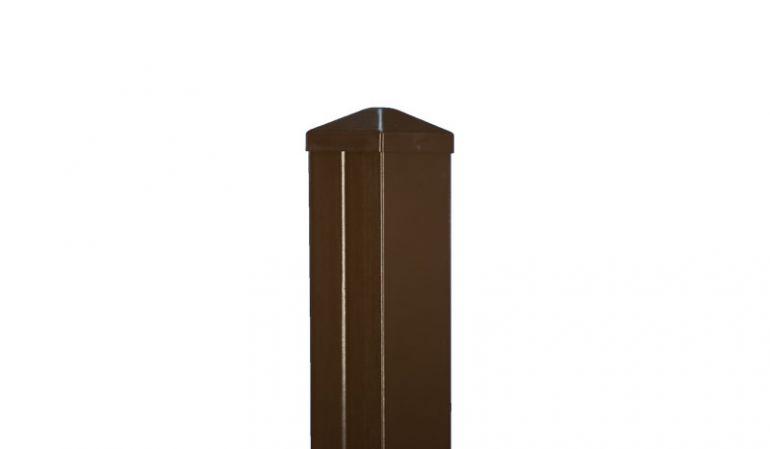 Der Aluminium Zaunpfosten im Detail. Bestehend aus Massiv-Kunststoff im Alu-Mantel.
