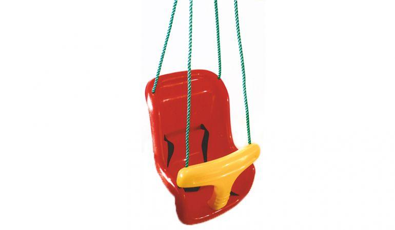 Babyschaukel Sitz Giant in rotem Kunststoff mit Sicherheitsgurt