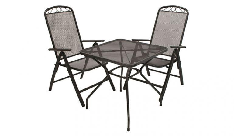 Anthrazitgraues Balkonset aus Streckmetall mit zwei 62 x 66 x 113 cm Klappsesseln und einem 70 x 70 x 72 cm Tisch. Die Sessel besitzen eine extra hohe, 5-fach verstellbare Rückenlehne