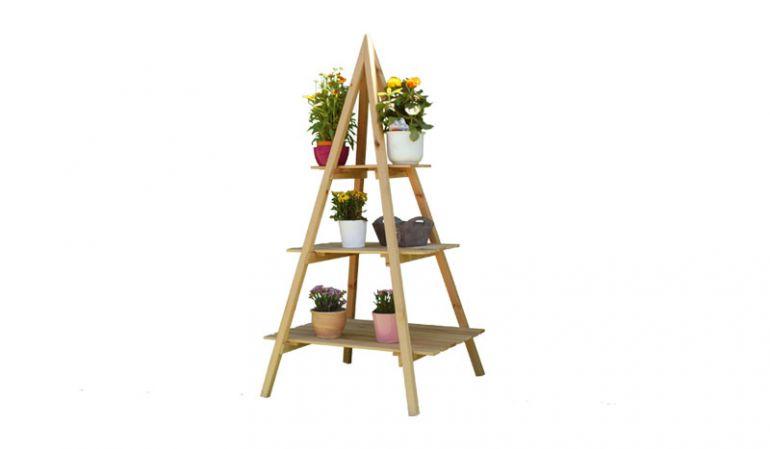 Für den Garten, Balkon und Wintergarten: 80 x 80 x 160 cm Blumen Etagere aus naturbelassener Kiefer mit 3 Ebenen