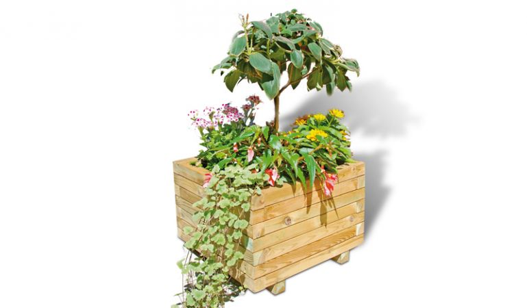 Blumenkübel aus Holz mit Folieneinsatz, 50 x 50 x 38 cm