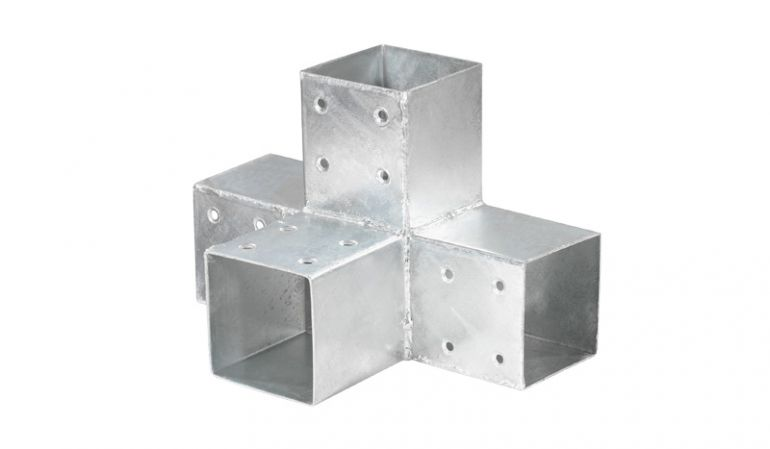 Eckverbinder für 9 x 9 cm Balken mit einem Gesamtmaß von 305 x 200 x 200 mm, aus 2 mm verzinktem Stahl