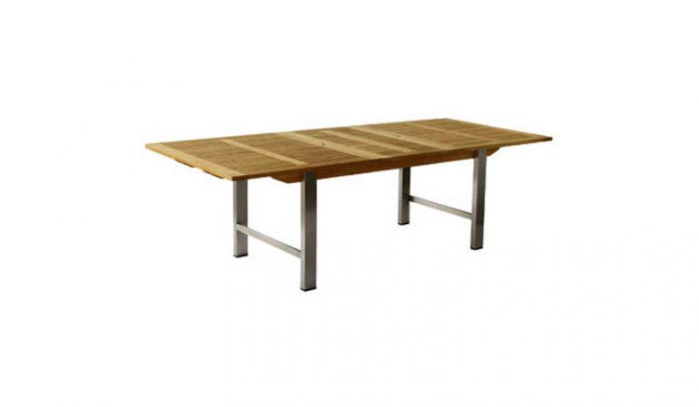 Der Edelstahl Gartentisch mit Auziehautomatik und einem Maß von 100 x 190/250cm