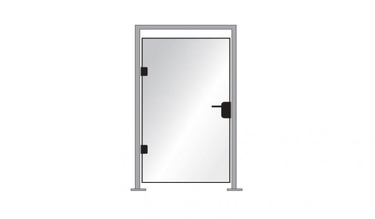 Die Tür wird mit  einem 98,7 x 180 Glastürelement inkl. Türdrücker, 2 x Bänder und Edelstahlzarge geliefert