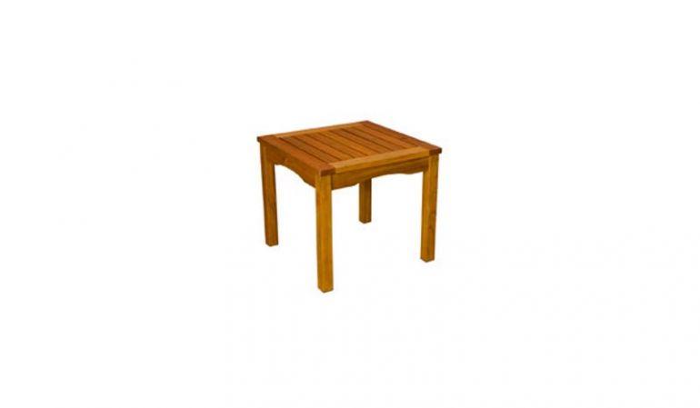 Der Gartenhocker Calgary aus braun geöltem Robinienholz, mit einem Maß von 50 x 50 x 45 cm