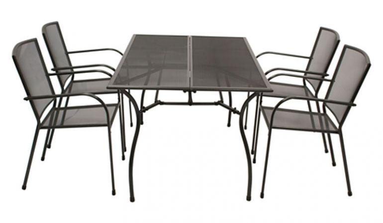 Die Gartenmöbel aus Metall bieten vier 55,5 x 57 x 87 cm Stapelsessel mit Armlehnen und einen rechteckigen 150 x 90 x 73 cm Esstisch