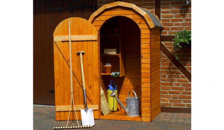 """Unsere Gartenschränke """"Blanz"""" aus massivem Kiefernholz. In drei verschiedenen Größen erhältlich."""