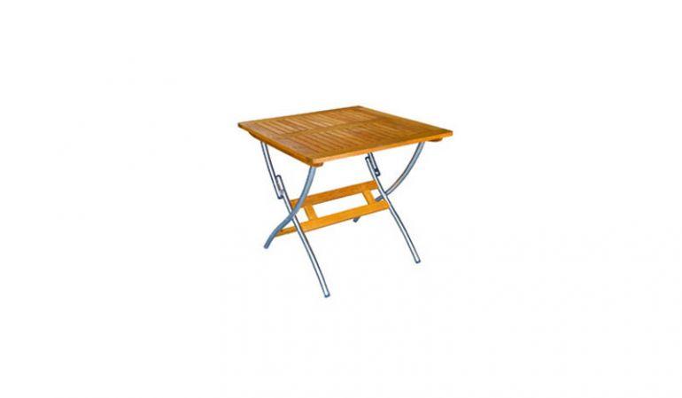 Der Gartentisch Victoria aus Robinienholz und einem Maß von 80 x 80 cm