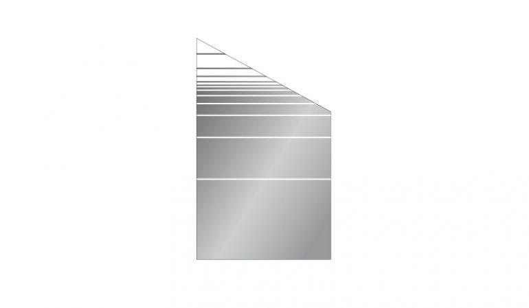 Unser Glas Sichtschutzelement mit Streifendekor in Modell-Form eignet sich ideal als Absschlusselement