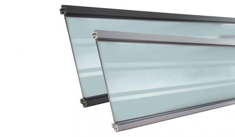 179,3 x 0,6 x 20,6 cm Füllung aus Klarglas mit Milchglastreifen für Steckzaunsysteme