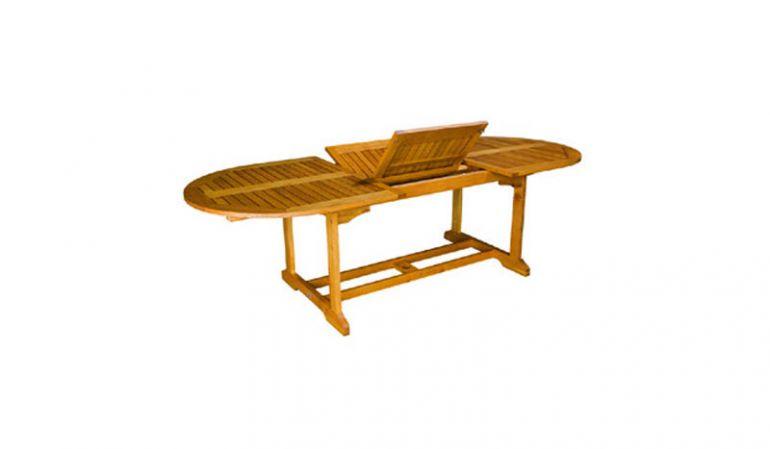 Der ausziehbare Gartentisch Halifax aus Robinienholz mit einem Maße von 100 x 180/240 cm