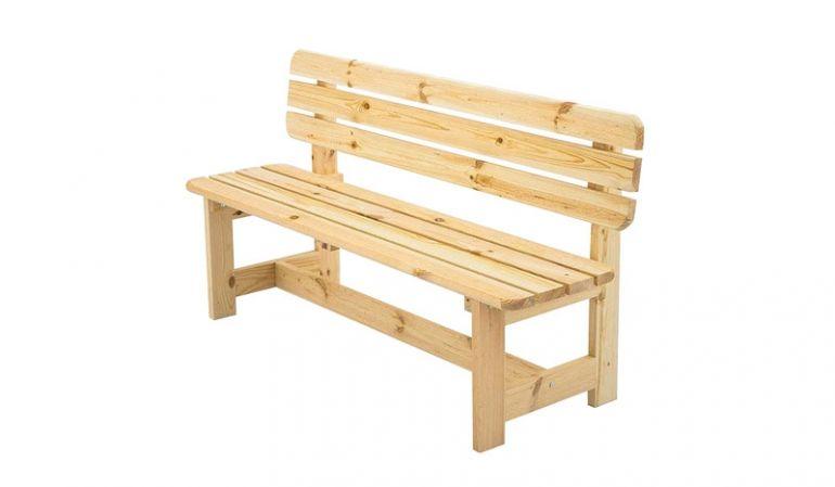 Klassisch und solide: 150 x 80 x 53 cm Holzbank mit Rückenlehne für drei Personen aus unbehandelter Kiefer