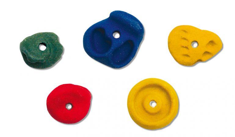 Gummierte Klettergriffe aus Kunststoff in den Farben Gelb, Blau, Rot, Grün, Größe: Medium