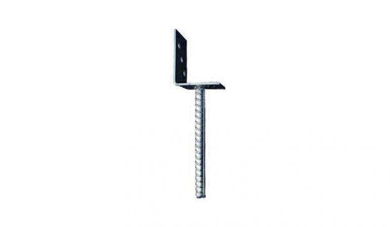 L-Pfostenträger 9 x 9 x 20 cm mit 5 mm Lasche zur Montage der Eckpfosten unseres Lärmschutzzauns