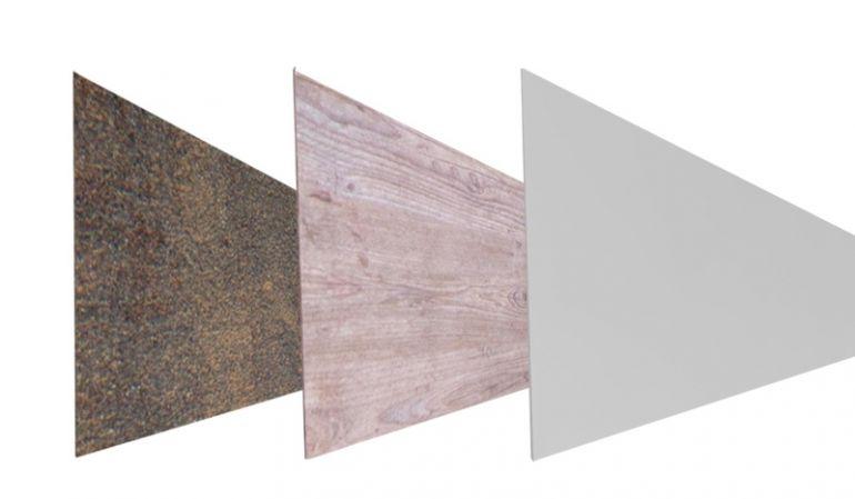 Roskilde Lamellen aus widerstandsfähigem HPL in 3 verschiedenen Designs erhältlich. Lamellenmaße: 180 x 45 x 0,8 cm