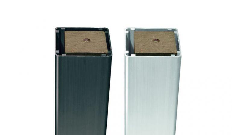 Alu Pfosten List (anodisiert) in silber oder anthrazit (foliert) und einem Holzkern