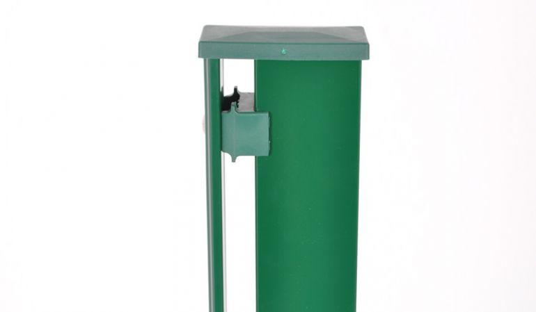 Doppelstabmatten Pfosten mit Abdeckleiste, nach DIN EN ISO 1461 verzinkt und in RAL 6005 pulverbeschichtet, 4 x 6 cm, Wandstärke 2 mm