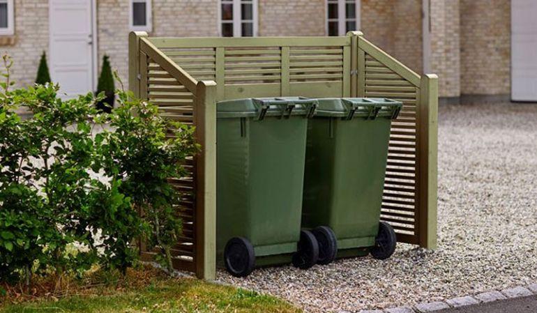 Druckimprägnierte Mülltonnenabtrennung Silence mit den Maßen 194 x 82 x 140 auf 110 cm (L x B x H)