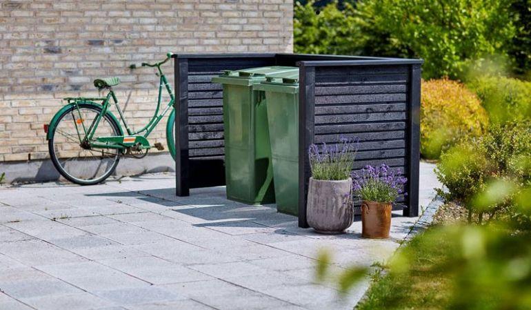 Elegante 192 x 108 x 104 cm Mülltonnenverkleidung im skandinavischem Design aus druckimprägnierter und schwarz farbgrundierter Fichte